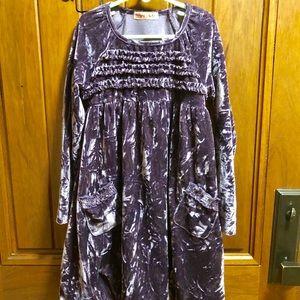 Ragdoll & Rockets Girls velour purple dress